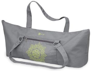 326518594be8 The Yoga mat tote bag by Gaiam are made of cotton which is lined with nylon  to prevent moisture from building up. It has magnetic straps which makes it  ...