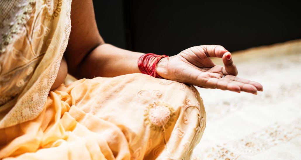 woman hand doing yoga